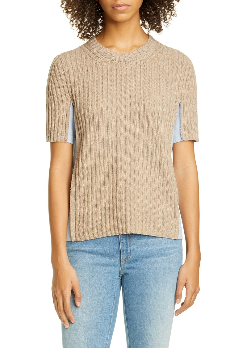 Maison Margiela Contrast Panel Ribbed Sweater