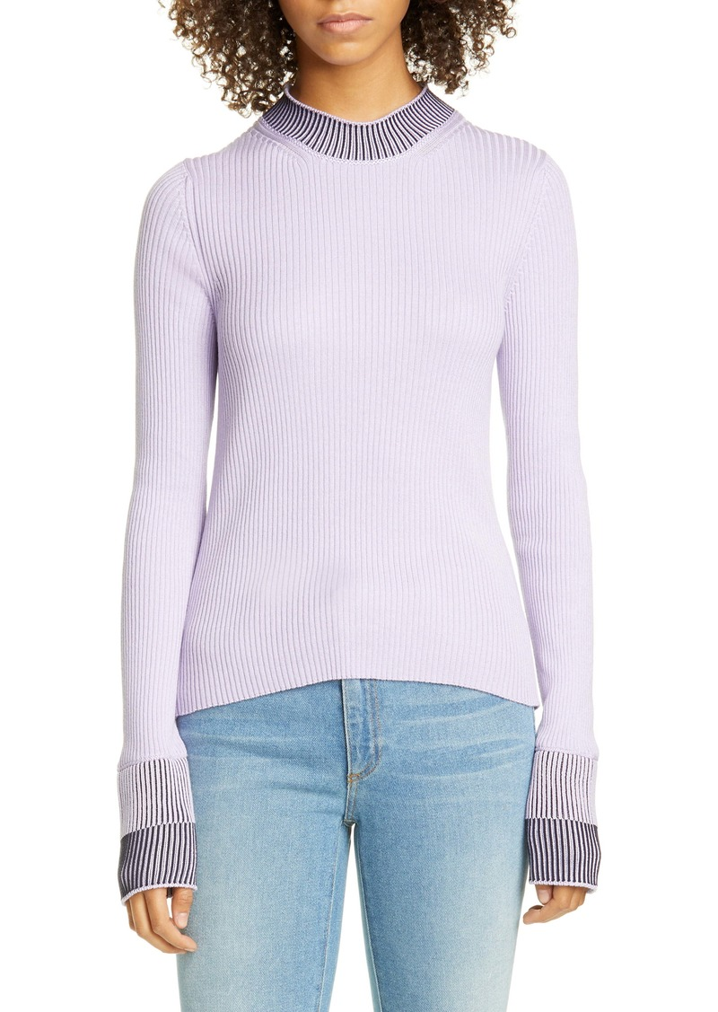 Maison Margiela Contrast Rib Cotton Blend Sweater