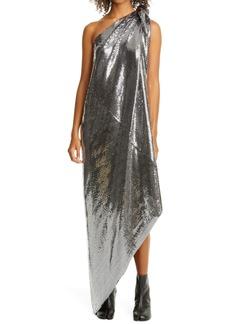 MM6 Maison Margiela Convertible Metallic Asymmetrical Dress