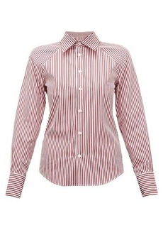 Maison Margiela Cut-out striped cotton-poplin shirt