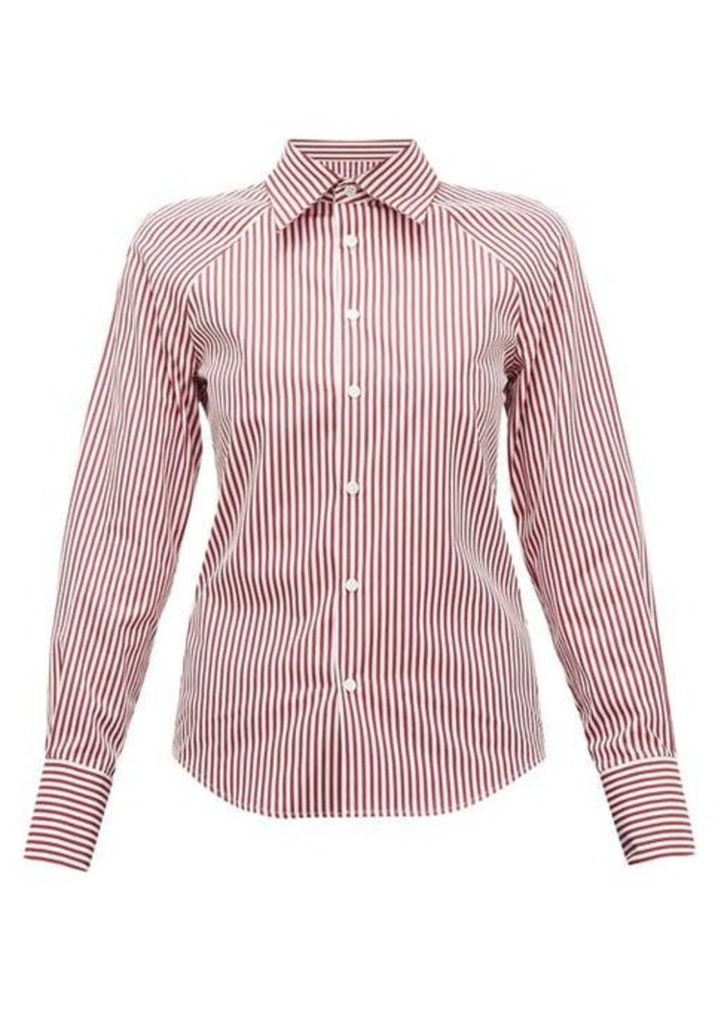 Maison Margiela Cut-out striped cotton-poplin shirt