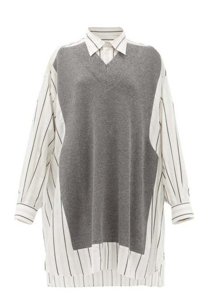 Maison Margiela Deconstructed oversized knit-panel cotton shirt