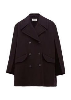 Maison Margiela Double-breasted virgin wool-blend cape pea coat