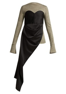 Maison Margiela Draped-panel bustier crepe and jersey top