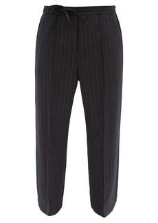 Maison Margiela Drawstring-waist pinstriped wool-flannel trousers