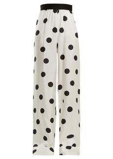 Maison Margiela Elasticated-waist polka-dot silk trousers