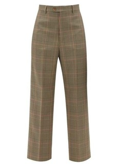 Maison Margiela High-rise pleated checked cropped twill trousers