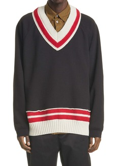 Maison Margiela Knit Trim V-Neck Sweatshirt