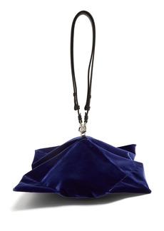 Maison Margiela Lantern leather-handle velvet clutch