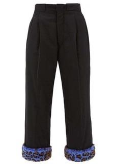 Maison Margiela Leopard-print cuff padded wool trousers