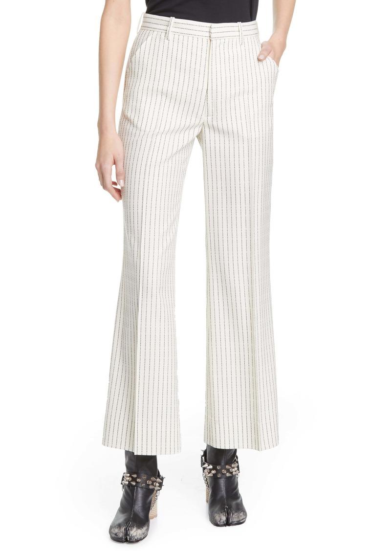 Maison Margiela Logo Pinstripe Crop Wool Trousers