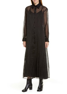 Maison Margiela Long Sleeve Sheer Organza Maxi Shirtdress