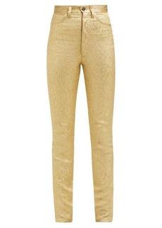 Maison Margiela Metallic floral-brocade cotton-blend trousers