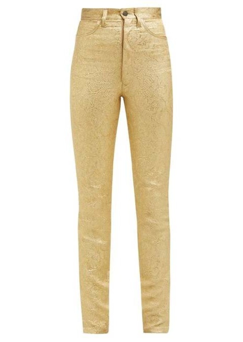 Maison Margiela Metallic floral-brocade cotton-blend trousers