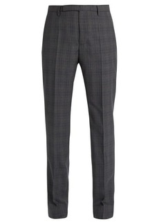Maison Margiela Mid-rise slim-leg wool-plaid trousers