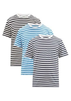 Maison Margiela Pack of three striped cotton jersey T-shirts