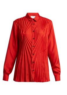 Maison Margiela Pleated satin blouse