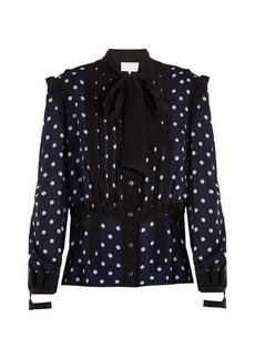 Maison Margiela Polka-dot print and jacquard-trimmed silk blouse