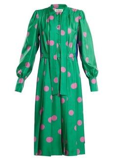 Maison Margiela Polka-dot print silk-satin midi dress