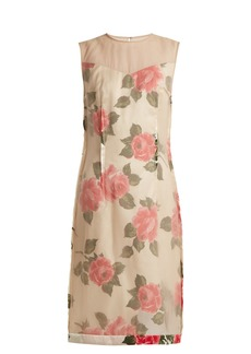 Maison Margiela Raw-edge rose-print organza dress
