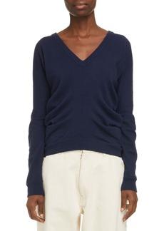 Maison Margiela Reversible Ruched Cashmere & Cotton Sweater