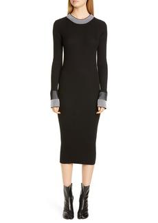 Maison Margiela Rib Cotton Blend Long Sleeve Midi Dress