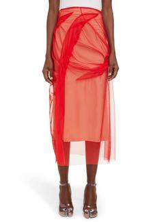Maison Margiela Ruched Tulle Overlay Skirt