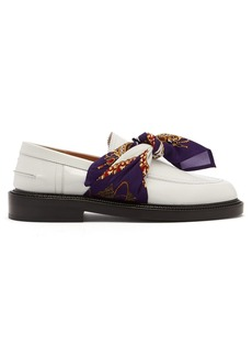 Maison Margiela Scarf-tied patent-leather loafers