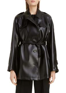 Maison Margiela Short Faux Leather Trench Coat