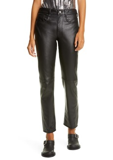 MM6 Maison Margiela Straight Leg Sheepskin Leather Five-Pocket Pants