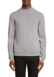 Maison Margiela Stripe Mock Neck Wool Sweater