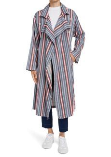 Maison Margiela Stripe Stretch Linen & Cotton Trench Coat