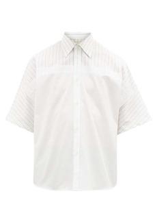 Maison Margiela Striped-panel cotton-poplin shirt