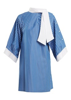 Maison Margiela Striped tie-neck cotton shirtdress