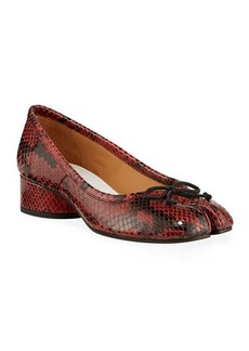 Maison Margiela Tabi Snake-Print Ballerina Pumps with Split Toe