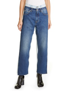 Maison Margiela Trompe l'Oeil Layered Waist Wide Leg Crop Jeans