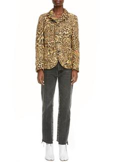 Maison Margiela Warped Leopard Print Quilted Jacket