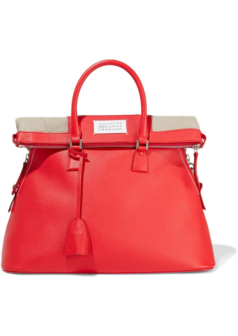 Maison Margiela Woman 5ac Textured-leather And Canvas Tote Red