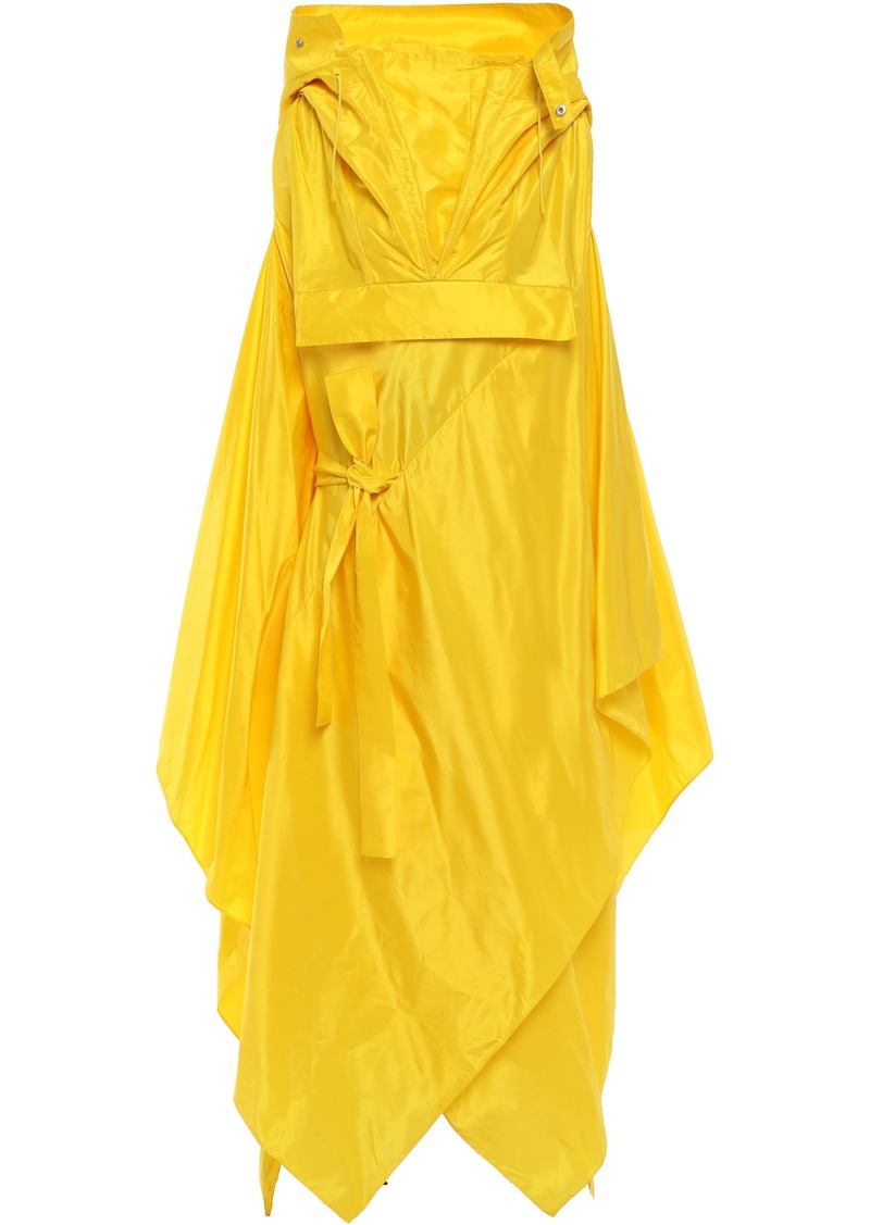 Maison Margiela Woman Asymmetric Draped Silk-taffeta Hooded Coat Yellow