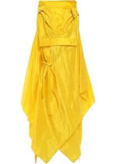 Maison Margiela Woman Asymmetric Draped Silk-taffeta Hooded Coat Yellow