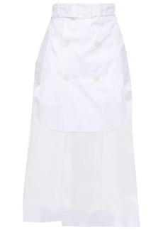 Maison Margiela Woman Belted Layered Poplin And Organza Midi Skirt White