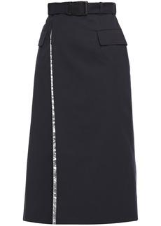 Maison Margiela Woman Belted Layered Shell And Twill Midi Wrap Skirt Midnight Blue