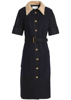 Maison Margiela Woman Belted Paneled Stretch-knit And Twill Shirt Dress Navy