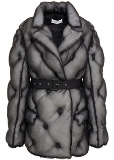 Maison Margiela Woman Belted Quilted Silk-organza Jacket Black