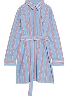 Maison Margiela Woman Belted Striped Cotton-poplin Shirt Dress Light Blue