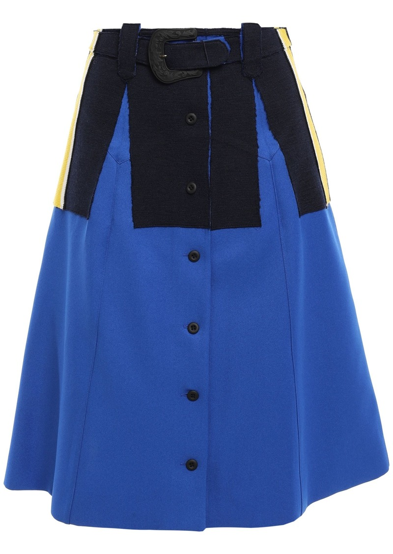 Maison Margiela Woman Belted Striped Stretch Knit-appliquéd Twill Skirt Bright Blue