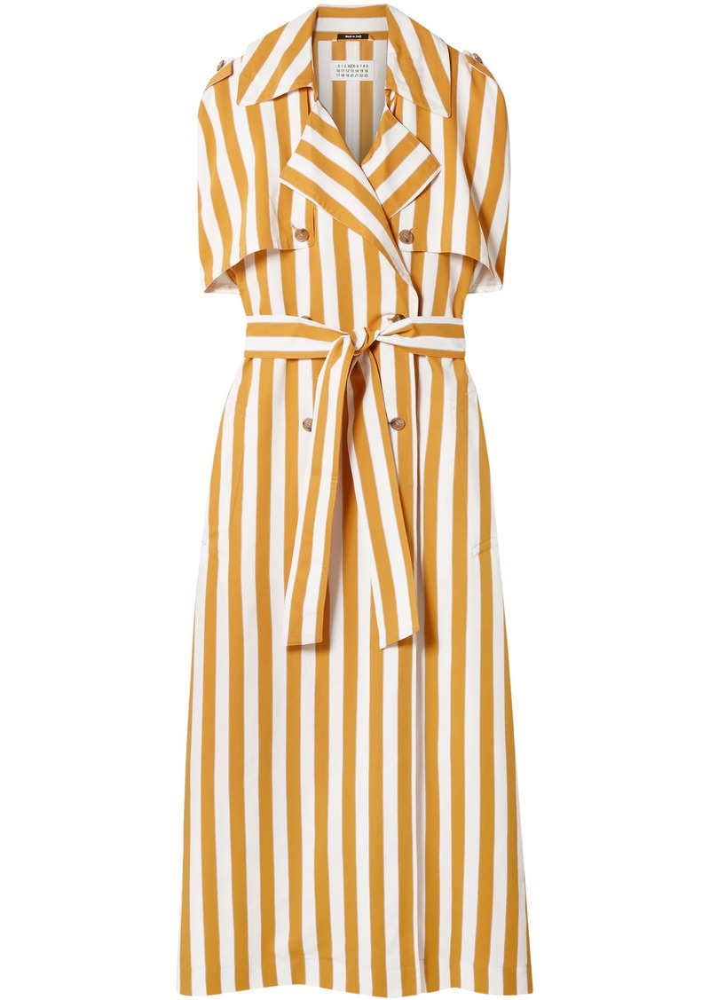 Maison Margiela Woman Belted Striped Twill Trench Coat Marigold