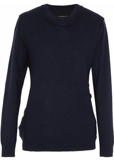 Maison Margiela Woman Button-detailed Wool Sweater Midnight Blue