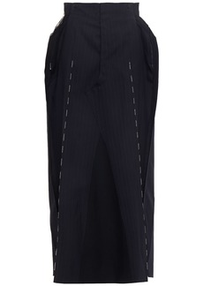 Maison Margiela Woman Button-embellished Striped Wool-jacquard Midi Dress Midnight Blue