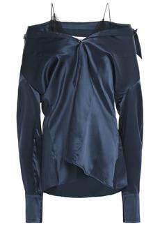 Maison Margiela Woman Cold-shoulder Lace-trimmed Silk-satin Top Storm Blue